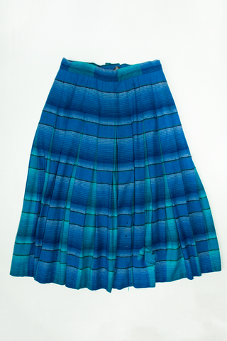 vintage Mexican blanket skirt with distressing in blue