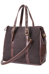 vintage suede handbag in chocolate brown