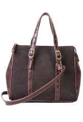 suede purse with leather trim in brown and gold-tone hardware