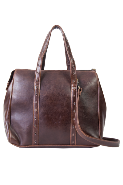 brown leather purse with shoulder strap