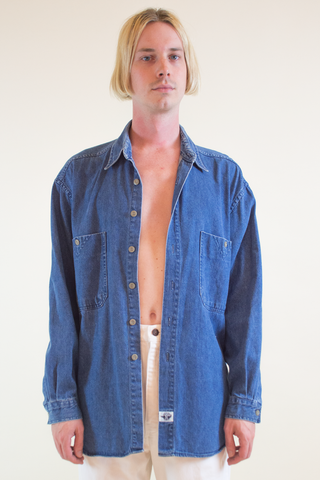 vintage blue jean Docker's shirt