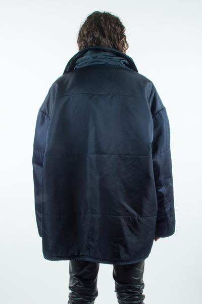 vintage dolce & gabbana oversized puffer coat in iridescent blue