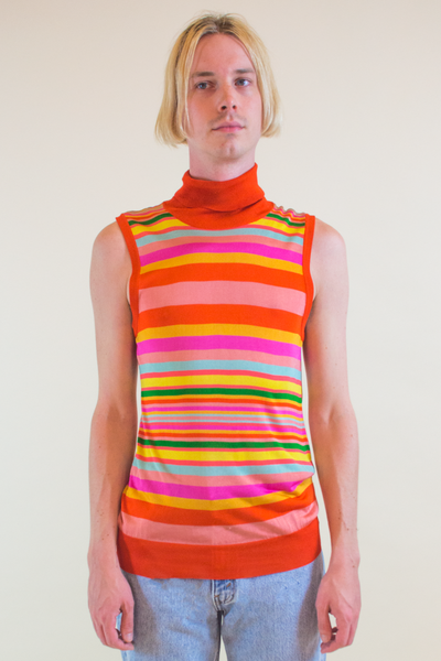 vintage orange dolce and gabbana turtleneck tank top with multicolor stripes