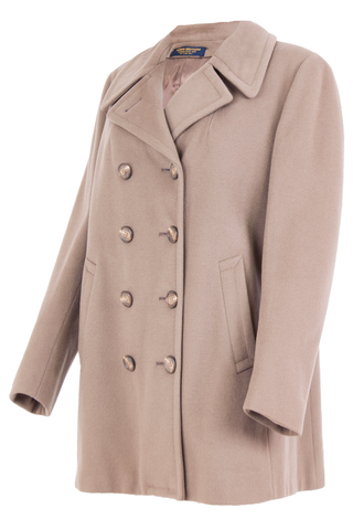 double breasted wool coat in nude featuring pointed lapel collar