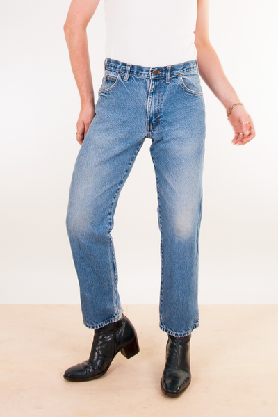 vintage blue jeans with a straight leg fit