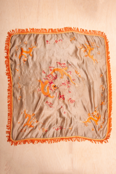 tan vintage silk scarf with orange dragon embroidery