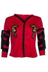 red raglan sleeve top with embellishments and dragon graphic at bust