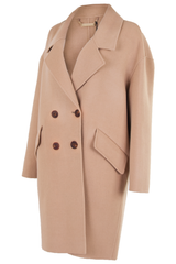 dvf double breasted tan coat