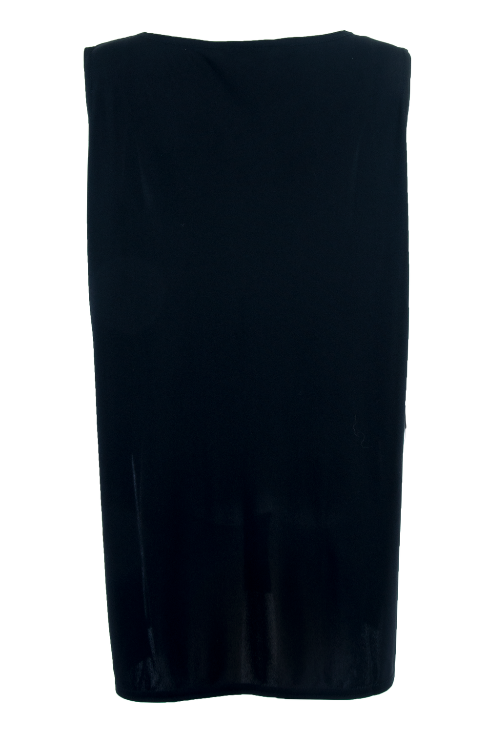 Back view of American made vintage DVF sleeveless little black dress with dropped armholes and high-split hem at sides.