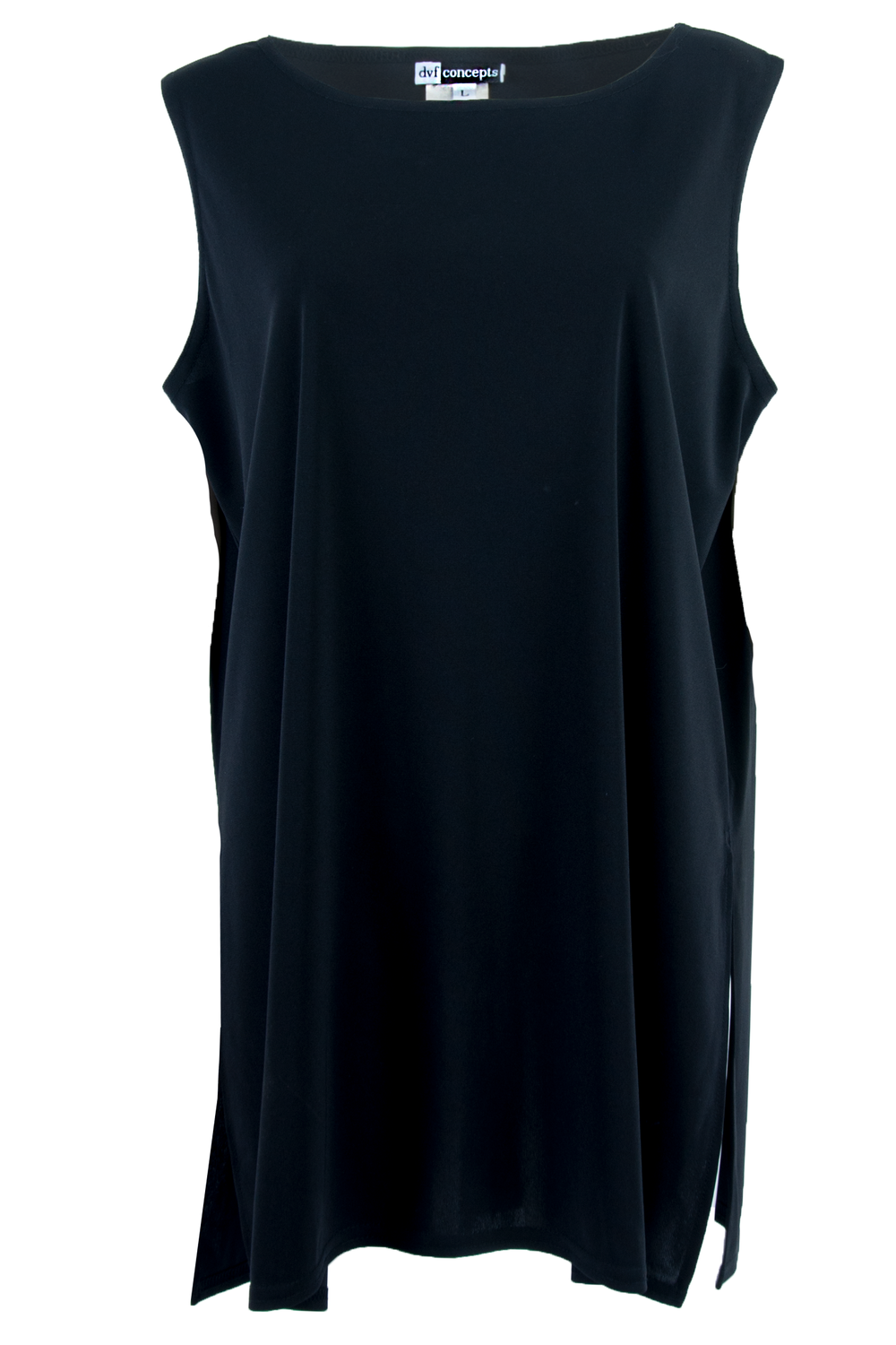 Front view of American made vintage DVF sleeveless little black dress with dropped armholes and high-split hem at sides.