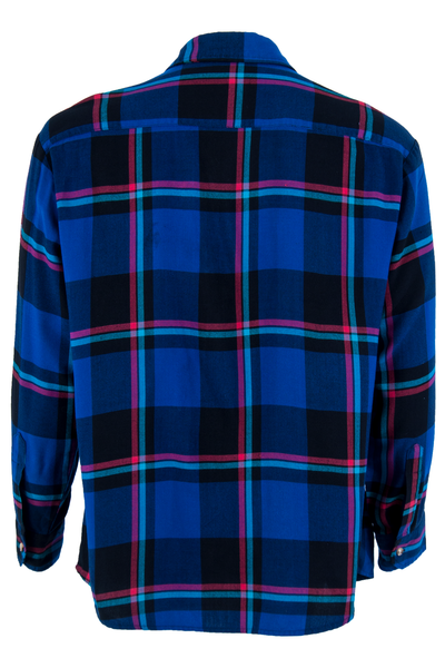 blue and multicolor plaid flannel