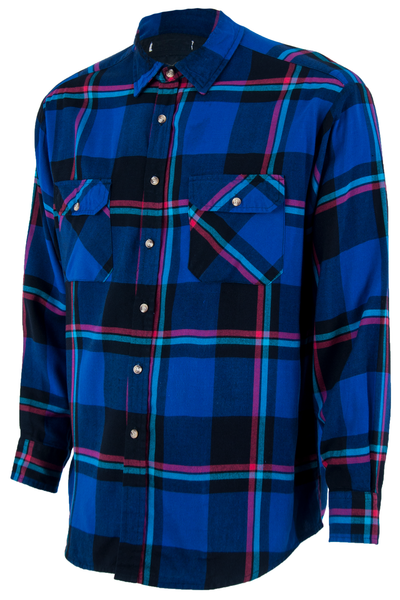 blue plaid flannel with pointed collar