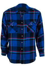 Vintage blue flannel with contrast plaid print
