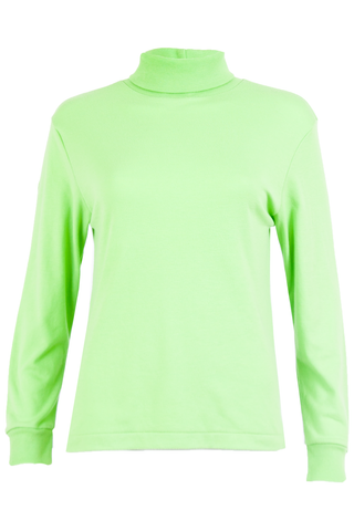 neon green sweater with mock neck and ribbed trim