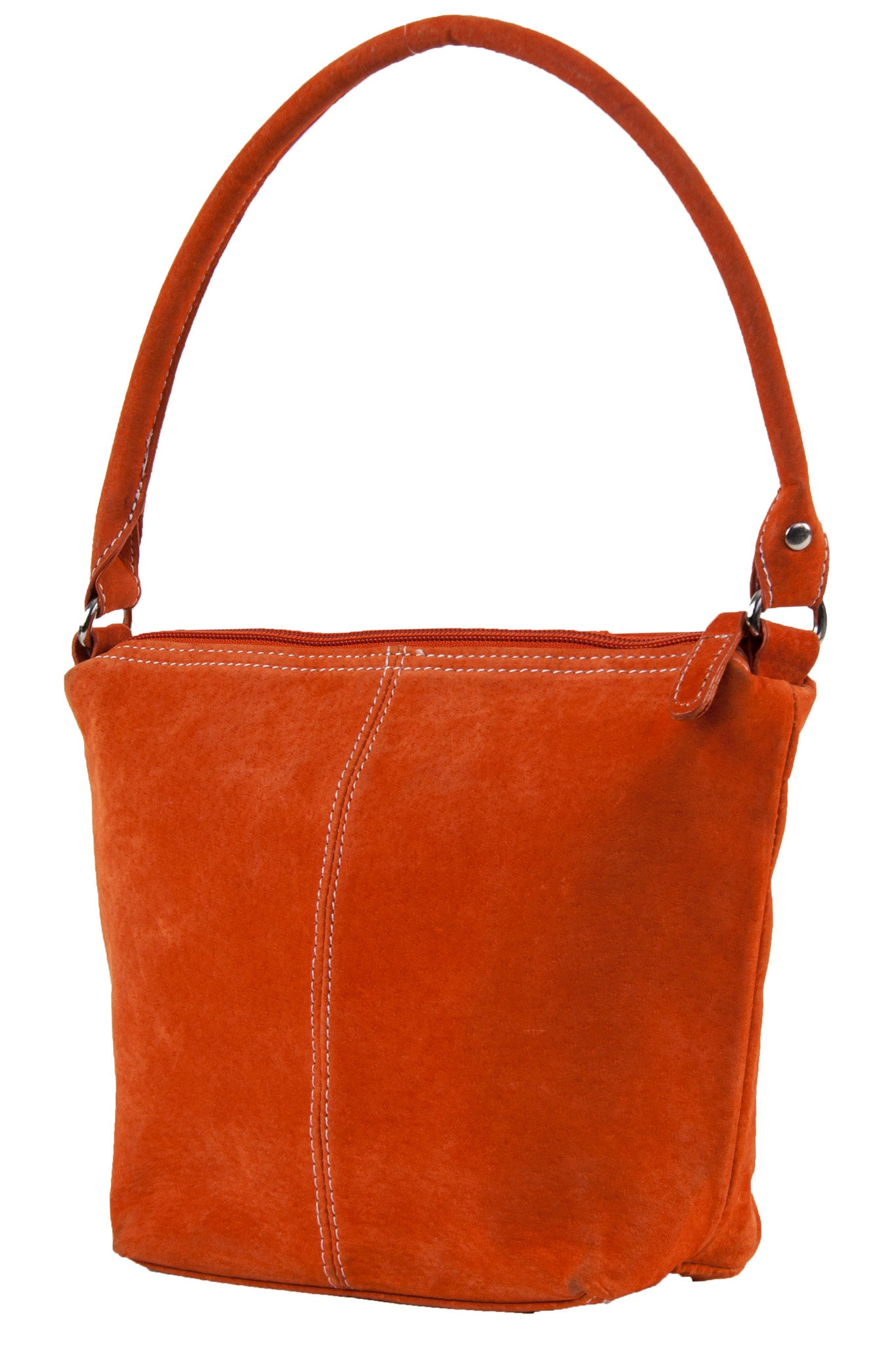 vintage suede purse in neon orange