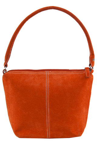 orange suede purse with stitching down front