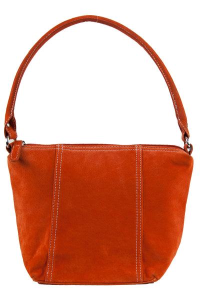 suede purse in neon orange with stitching and top handle