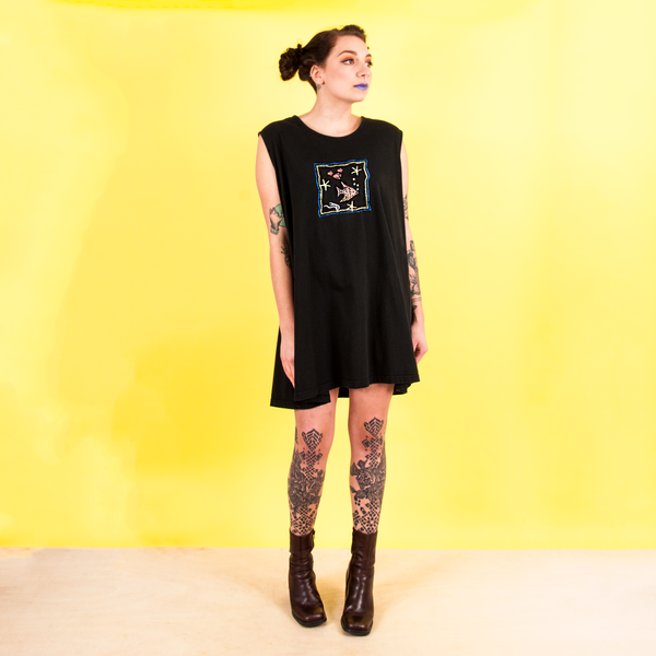 vintage black sleeveless tunic with fish embellishment