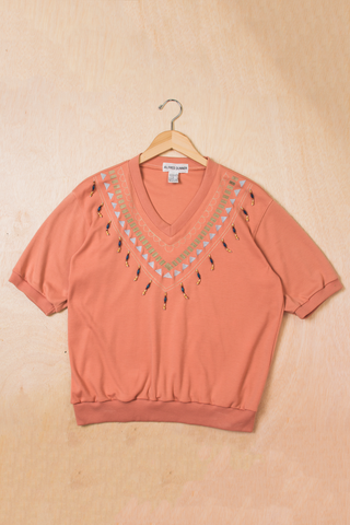 vintage embellished sweatshirt in peach