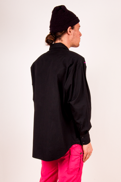 vintage black cotton shirt with rounded hem