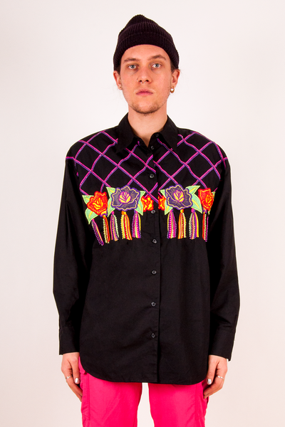 vintage black shirt with metallic floral embroidery