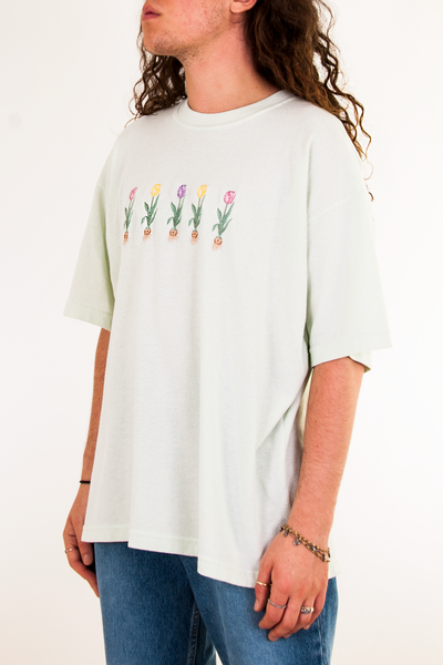 vintage t-shirt in mint green with floral embroidery