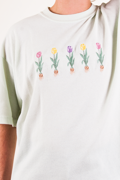 vintage mint green floral embroidered t-shirt