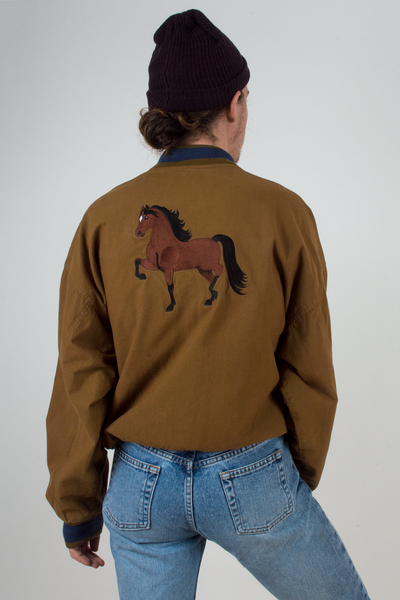 vintage brown bomber jacket with horse embroidery