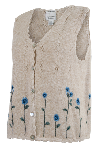 vintage sweater vest with blue and green embroidered flowers and scalloped edge