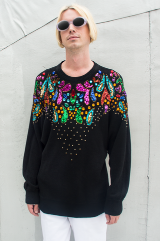 vintage black sweater with multicolor rhinestone embellishments