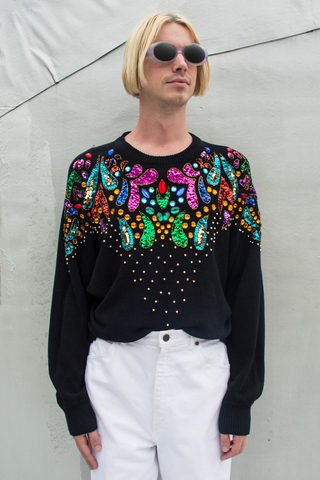 embellished sweater from the 1980s