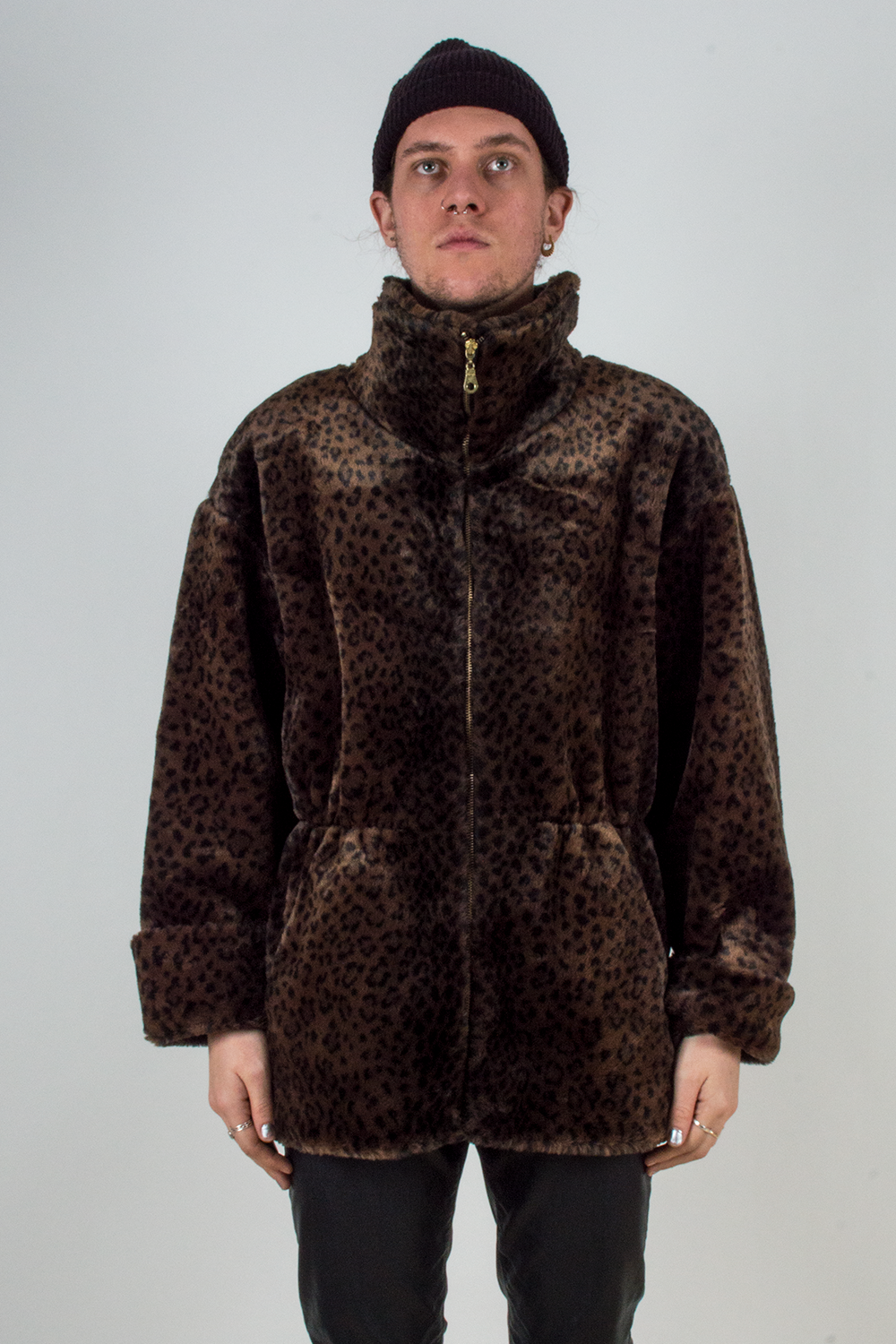 vintage faux fur shearling coat in cheetah print