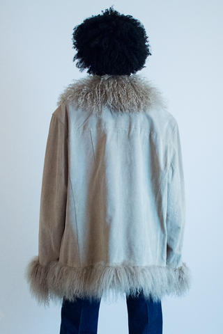 vintage suede coat with faux fur trim in beige
