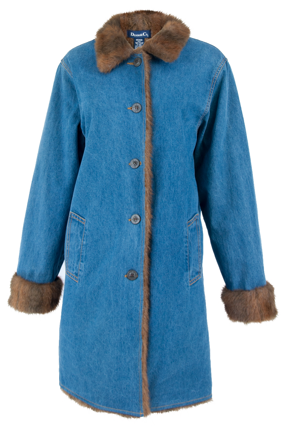 Front view of a vintage long-length denim coat with faux fur collar trim and lining pockets at waist and front button closure.