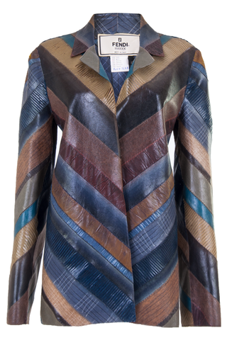 Vintage Fendi jacket with multi-color stripes and lapel collar