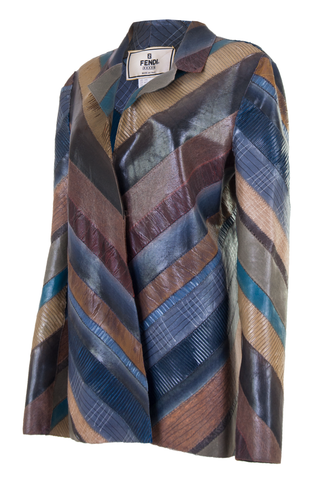 striped fendi jacket in multi-color leather look