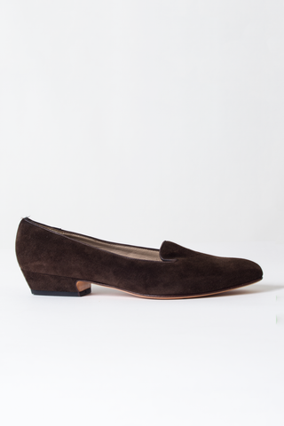 vintage Salvatore Ferragamo brown suede loafer heels