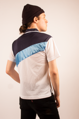 vintage mesh Fila short sleeve shirt in blue and white