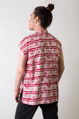 vintage Alfred Shaheen tunic in red and white