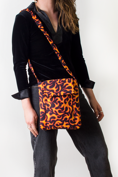 vintage flame print crossbody bag