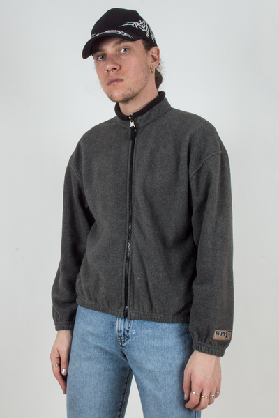 vintage grey fleece jacket with black trim