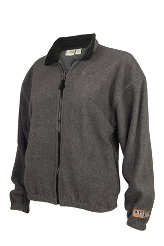 grey fleece jacket with black trim and zipper closure