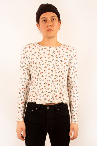 cropped vintage floral sweater in white