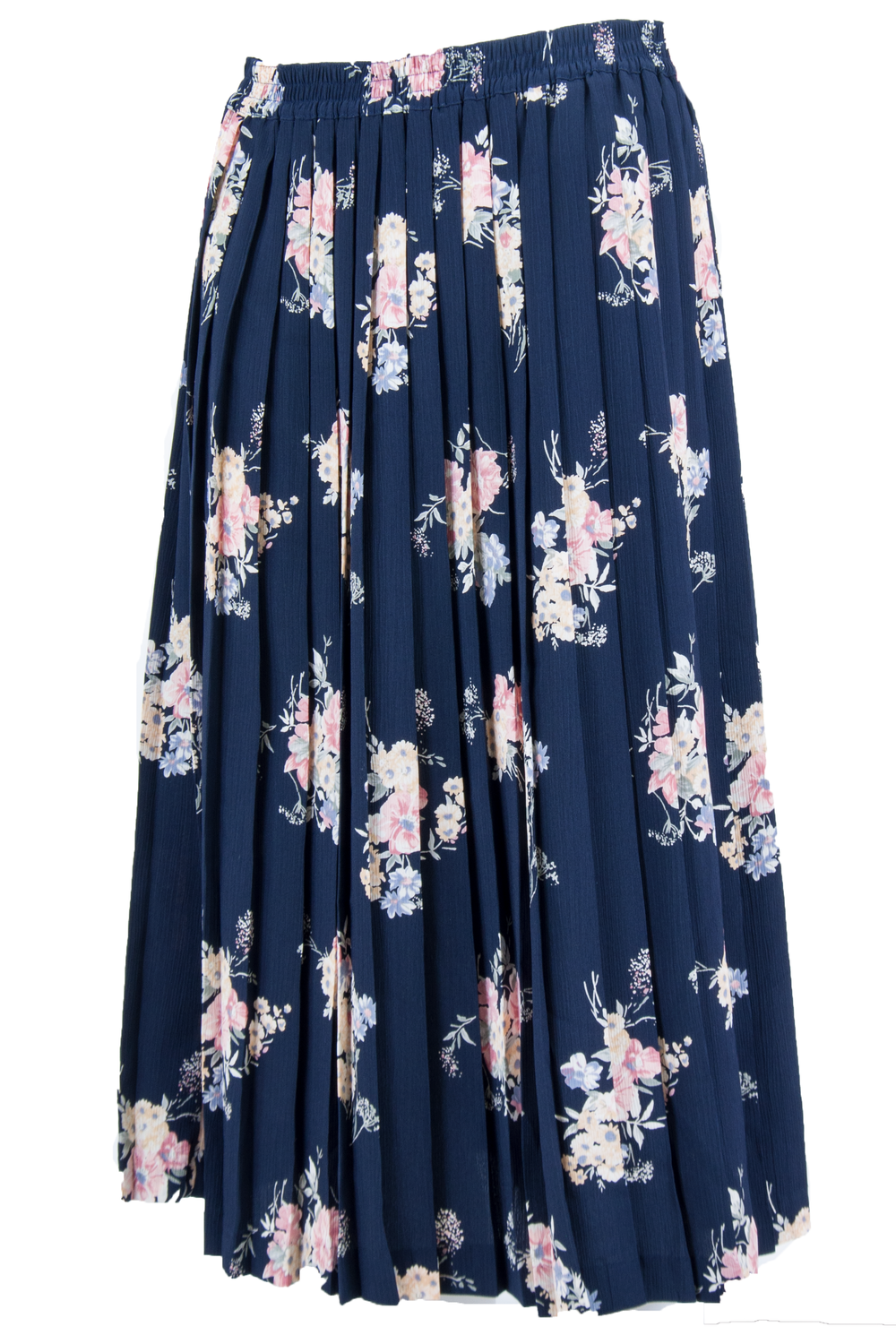 flower printed maxi skirt in navy blue with pleats