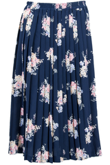 flower print maxi skirt in navy blue with pleats
