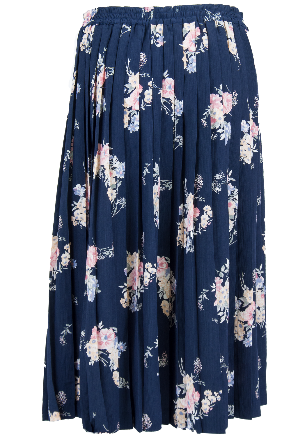 pleated blue maxi skirt with pink flower print