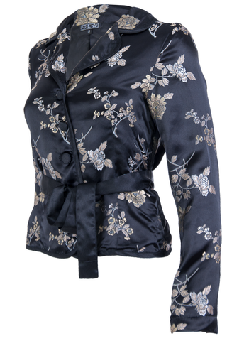 vintage black satin tie jacket with floral print
