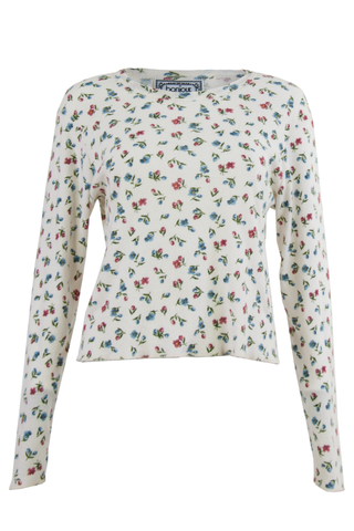 vintage white sweater with flower print