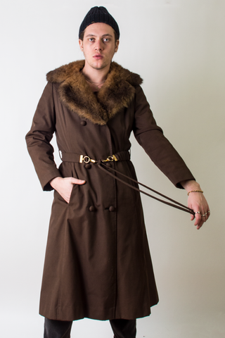 vintage long brown coat with fur collar