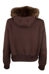 Brown hoodie with fur collar and horn clasps
